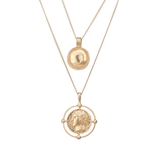 Vintage Golden Portrait Coin Double Pendant - Blue Belle Alley