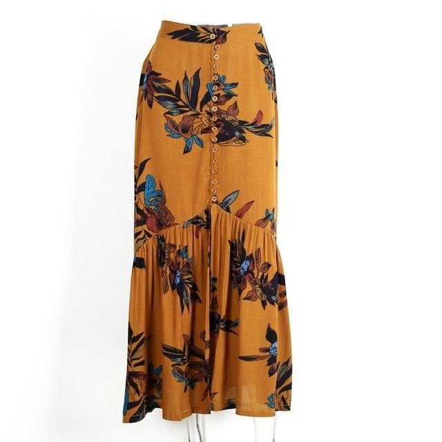 Floral Printed Button Front Maxi Skirt - Blue Belle Alley