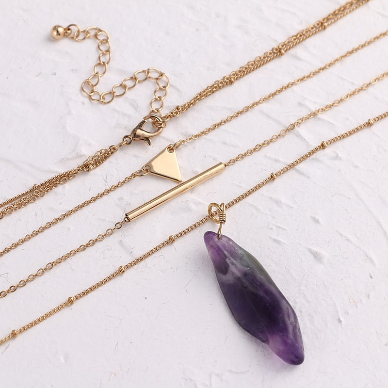 Purple Natural Stone Pendants - Blue Belle Alley