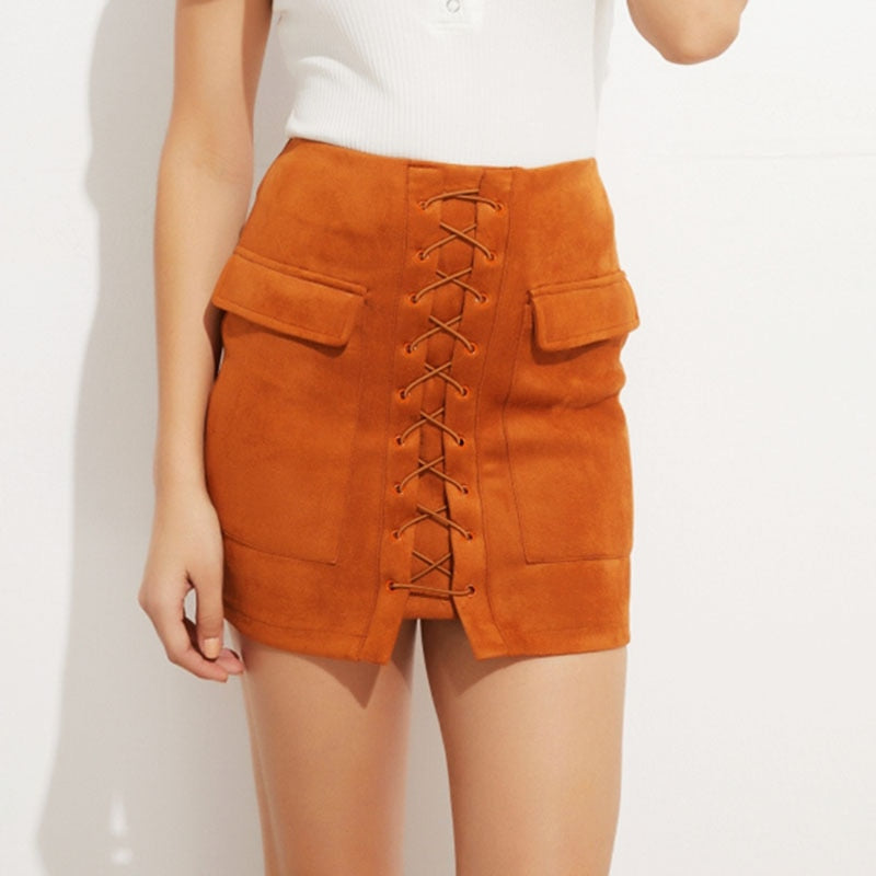 Khaki Faux Suede Mini Skirts - Blue Belle Alley