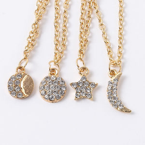 Classic moon multilayer statement necklace