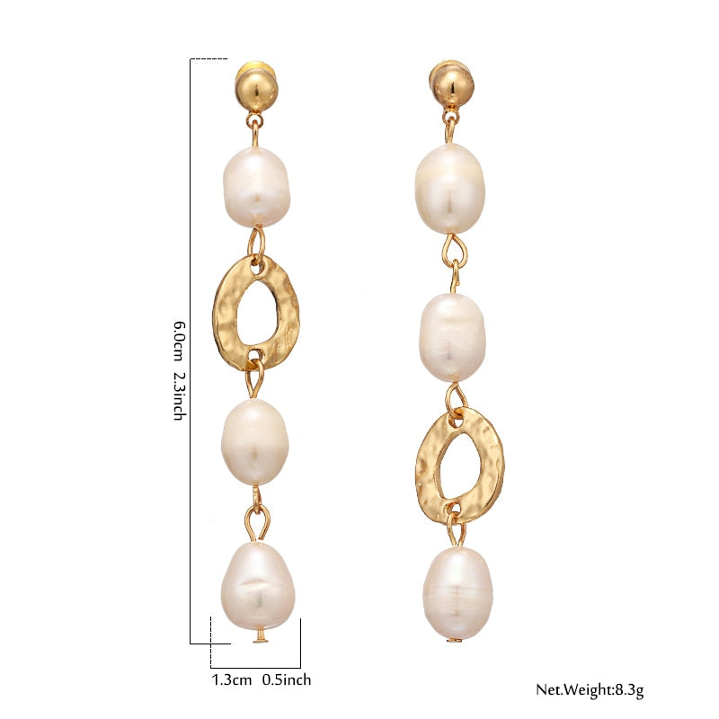 Natural Pearls Drop Earrings - Blue Belle Alley