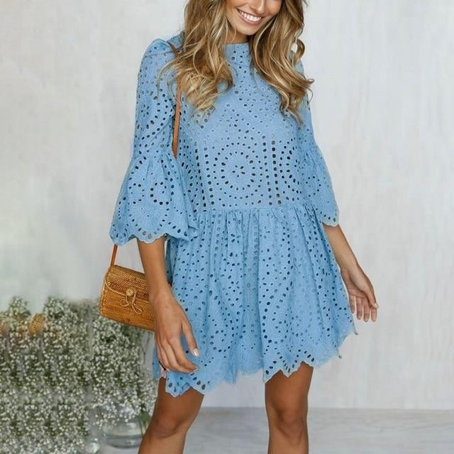 Petite Broderie Anglaise Flare Sleeve Dress - Blue Belle Alley