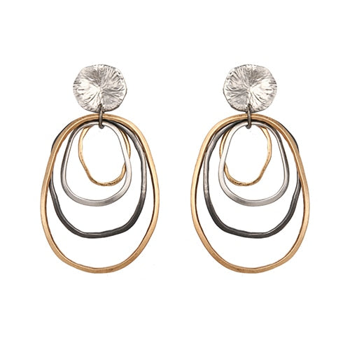 Multi Circles Gold Drop Earrings - Blue Belle Alley