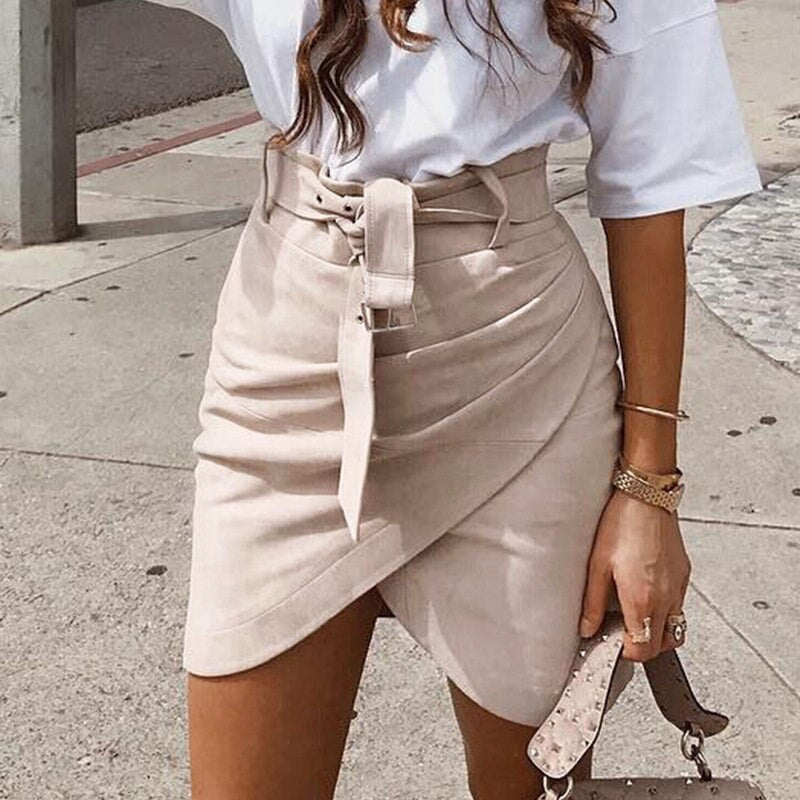 Suede look leather skirt - Blue Belle Alley