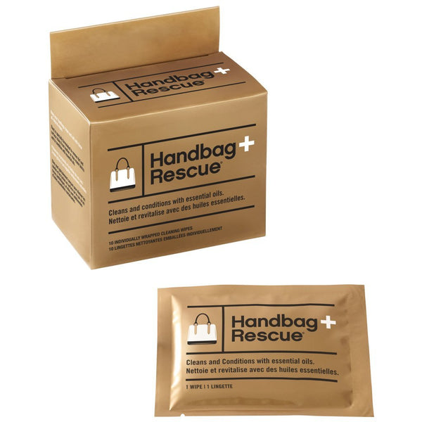 HandbagRescue All-Natural Cleaning Wipes - Box of 10 Individually Wrapped Wipes