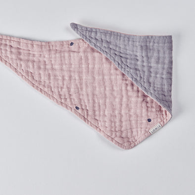 Pink Elephant - Reversible Muslin Scarf Bib - Dotted Dusky Pink | Pale Grey - LOMIE baby