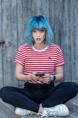 D20 Bouquet Striped Tee (Red/White) - Cantrip Brand