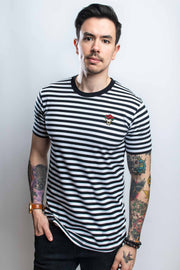 D20 Bouquet Striped Tee (Black/White) - CANTRIP BRAND