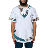 African Traditional Dashiki white+Print Patchwork t-shirt for men