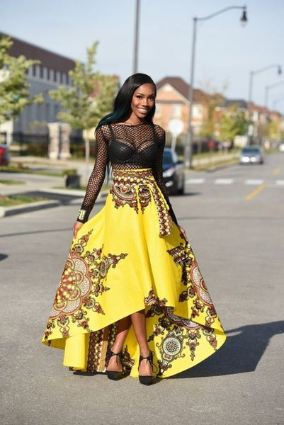 New Fashion Vintage Boho Asymmetrical Floral Pleated High Waist Long Skirt  Africa Clothing