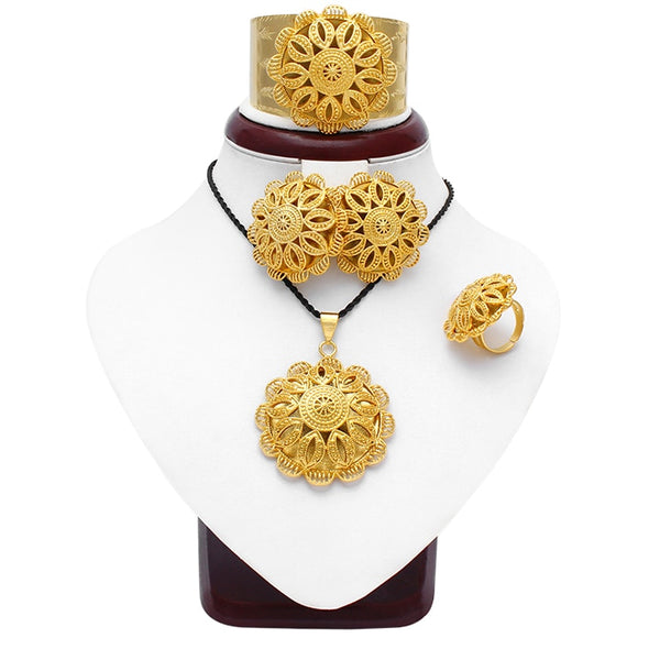 Ethiopia jewellery large size Sets for women gold colour romantic bridal jewellery Sets