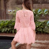 Women Celebrity Flare Sleeve Hollow out Beach Summer Dress