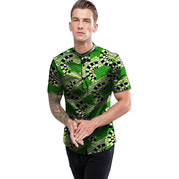Africa Style Festive Pattern Short Sleeve Men's Shirts