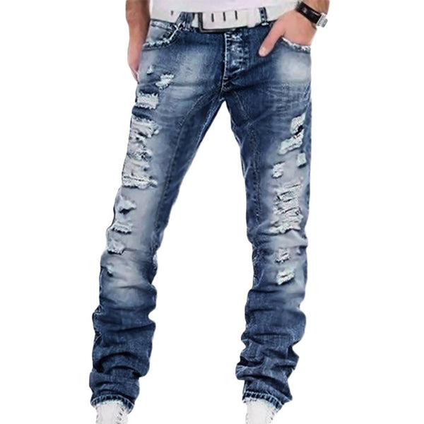 Men Ripped Cotton Blue Buttons Night Club Jeans