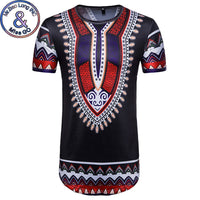 Mens African Dashiki Short Sleeve Longline T-shirt