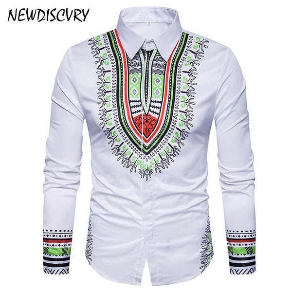 Africa Fashion Casual Slim Fit Autumn Cotton Mens Shirts
