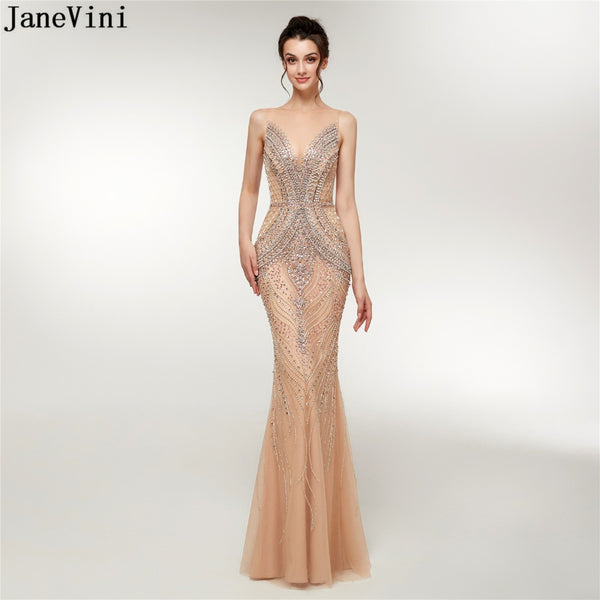 Luxury Bridal Crystals Beading Sheer Back Long Evening Party Gown