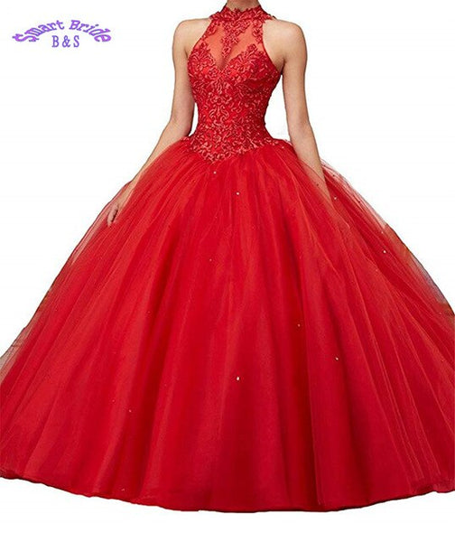 Wedding Dark-Red Beaded Long Prom D Open Back Dress