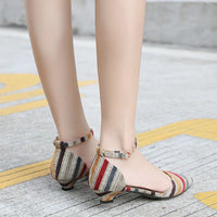 Ladies Pointed Toe Shoes Low-heeled Pumps Summer Slip On Sandals Shoes