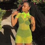 Ladies Sexy Green Transparent Short Sleeve Mini Hollow Out Fishnet Dress