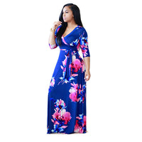 Traditional Africa Bazin Rich Women Deep V-neck Summer Dresses