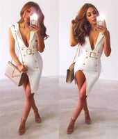 New Ladies Bandage Sexy Body-con Sleeveless Split Metal Buttons Party Dresses