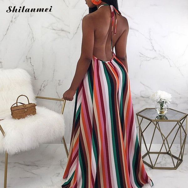 Africa Style Striped Sleeveless Sexy Backless Loose Casual Dress