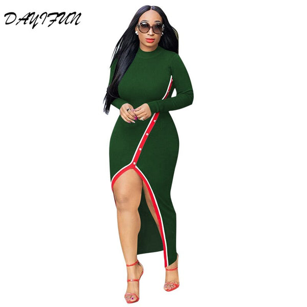 Africa New Pearl Slit Sexy Dress
