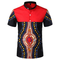 Red African Dashiki Shirt for Men 100% Cotton