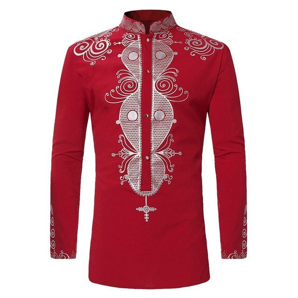 Men's Casual Slim Long-sleeved Africa Clothing