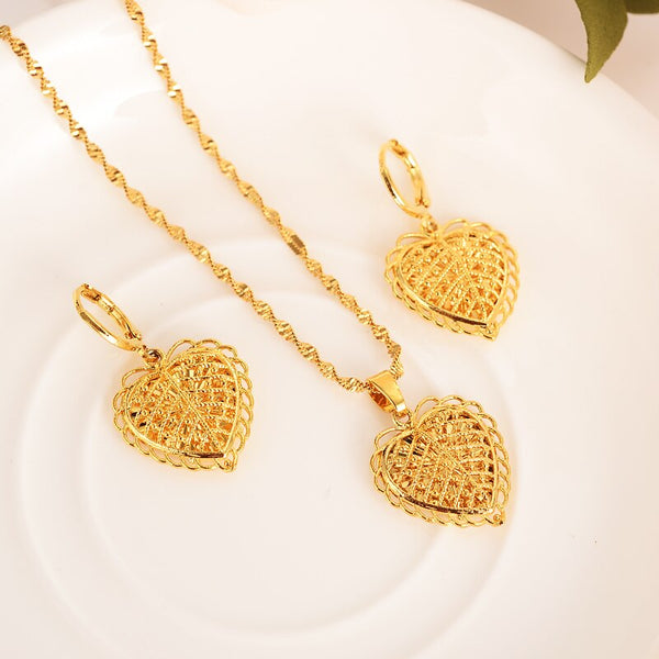 African Gold flower heart  jewellery, Set Necklace for wedding or girl friend gift..