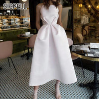 Sexy Celebrity's Sleeveless Off Shoulder Square Collar Slim-fit Dress