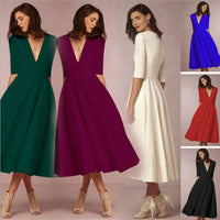 Vintage Women New fashion Elegant Bohemia V Neck Long Dresses