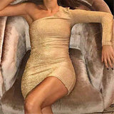 New Fashion, Women Golden Blink Sexy Single Shoulder Sleeve