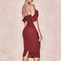 New Off The Shoulder Elegant Red Women Party Dress