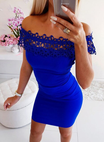 Sexy Off Shoulder Slim Body-con Package, Hip Mini Party Dress
