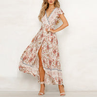 Women Split Sexy Deep V Short Sleeve Flower Dress