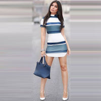 Women New Arrival Elegant Striped Mini Dresses