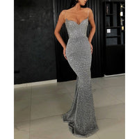 Sexy Ladies Shiny Silver Long Black Glitter Summer Dress