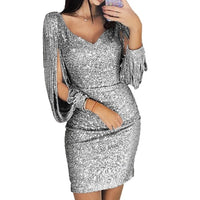 New Fashion V-Neck Long-Sleeved Slim Party Ladies Dress