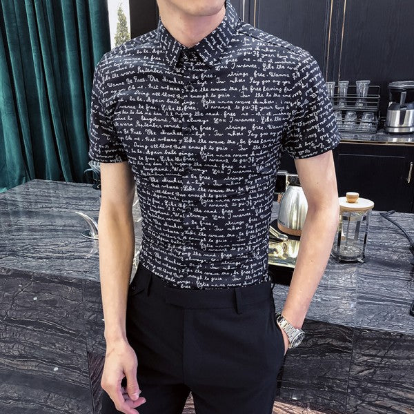Men Short Sleeve All Match Slim Fit Night Club & Party T-shirt