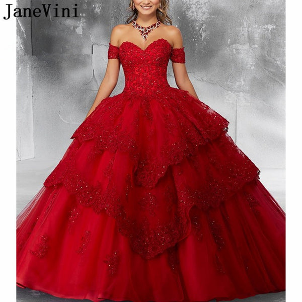 Luxury Wedding Ball Gown Red Heavy Beaded Pageant Prom Dress
