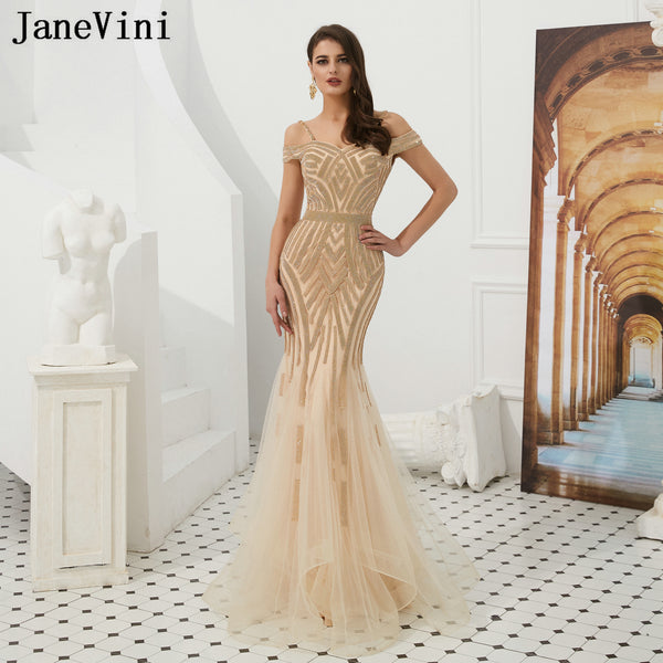 Elegant Off Shoulder Heavy Beaded Sleeveless Celebrity Party Gowns
