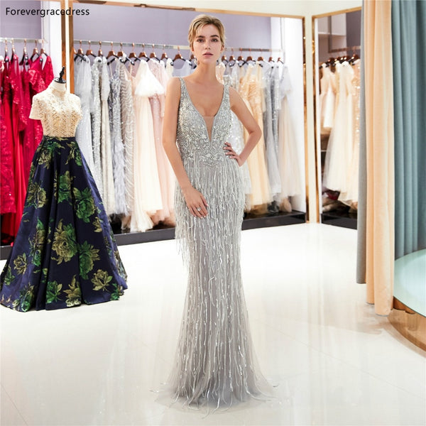 Luxury New Design Prom Backless Beading Long Party Gowns