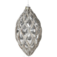 GLACIAL FROST - Antique Silver Lit Hanging Teardrop