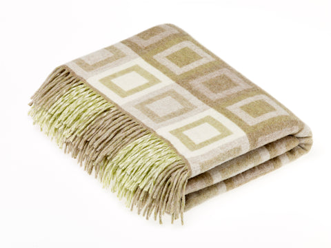 Bronte By Moon Lambswool Double Square Throw Sage Green