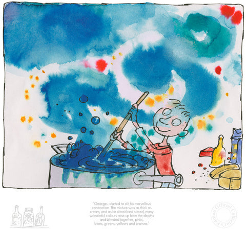 Quentin Blake George's Marvellous Medicine - George Started To Stir His Marvellous Concoction (2017) Framed