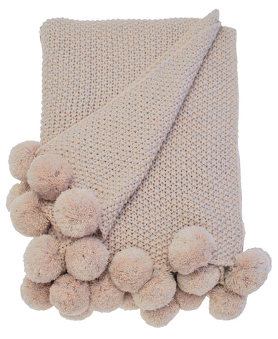 Walton & Co Cosy Knit Pom Pom Throw Blush