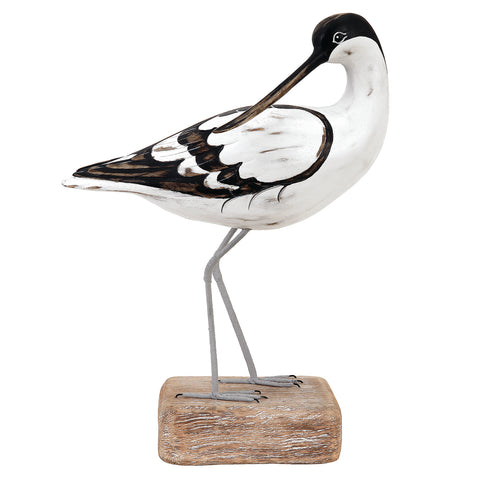 Archipelago Avocet Preening Hand Carved Wooden Bird